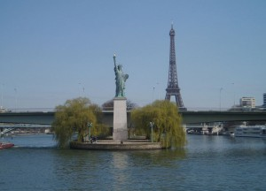 Paris: Eiffel Tower and Lady Liberty